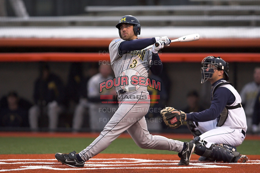 April 11, 2008:  University of Michigan Wolverines starting pitcher Zack Putnam (3) at bat against the University of Illinois Fighting Illini at Illinois Field in Champaign, IL.  Photo by:  Chris Proctor/Four Seam Images