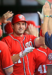 22 July 2012: Washington Nationals third baseman Ryan Zimmerman returns to the dugout after hitting the first of two home runs for the day against the Atlanta Braves at Nationals Park in Washington, DC. The Nationals defeated the Braves 9-2 to split their 4-game weekend series. Mandatory Credit: Ed Wolfstein Photo