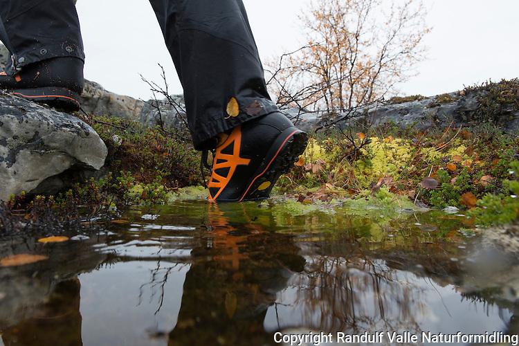 Person går med fjellstøvler i vått terreng. ---- Person hiking in wet terrain.