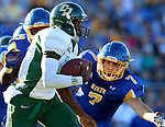 BROOKINGS, SD - SEPTEMBER 6:  Chris Brown #9 from Cal Poly looks to make a move past Jesse Bobbit #7 from South Dakota State University in the first half of their game Saturday evening at Coughlin Alumni Stadium in Brookings.(Photo/Dave Eggen/Inertia)