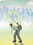 Illustrative image of businessman carrying light bulb representing innovation