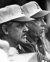 Oakland Athletics manager Dick Williams and pitching coach Bill Posdel. July 31,1972 (photo by Ron Riesterer)