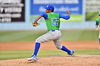 Lexington Legends pitcher Jose Veras (27) delivers a pitch during a game against the  Asheville Tourists at McCormick Field on May 29, 2017 in Asheville, North Carolina. The Legends defeated the Tourists 5-2. (Tony Farlow/Four Seam Images)