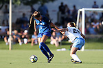 CARY, NC - AUGUST 18: Duke's Chelsea Burns (2) and North Carolina's Dorian Bailey (29). The University of North Carolina Tar Heels hosted the Duke University Blue Devils on August 18, 2017, at Koka Booth Stadium in Cary, NC in a Division I college soccer game.