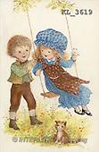 Interlitho, CHILDREN, nostalgic, paintings, boy, girl, swing, cat(KL3619,#K#) Kinder, niños, nostalgisch, nostálgico, illustrations, pinturas