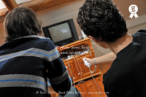 Two teenagers boys (13-14) playing video games (Licence this image exclusively with Getty: http://www.gettyimages.com/detail/84869061 )