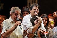 ATENÇÃO EDITOR: FOTO EMBARGADA PARA VEÍCULOS INTERNACIONAIS - SAO PAULO, SP, 15 SETEMBRO DE 2012 – ELEIÇÕES 2012 - COMICIO HADDAD, LULA E MARTA SUPLICY - O candidato a prefeitura de São Paulo Fernando  Haddad (abraçando sua filha) juntamente com o ex presidente Lula e a Ministra Marta Suplicy realizaram um comício no bairro do Capão Redondo, zona sul de São Paulo. (FOTO: LEVI BIANCO / BRAZIL PHOTO PRESS).