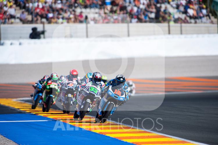 VALENCIA, SPAIN - NOVEMBER 11: Moto3 race during Valencia MotoGP 2016 at Ricardo Tormo Circuit on November 11, 2016 in Valencia, Spain