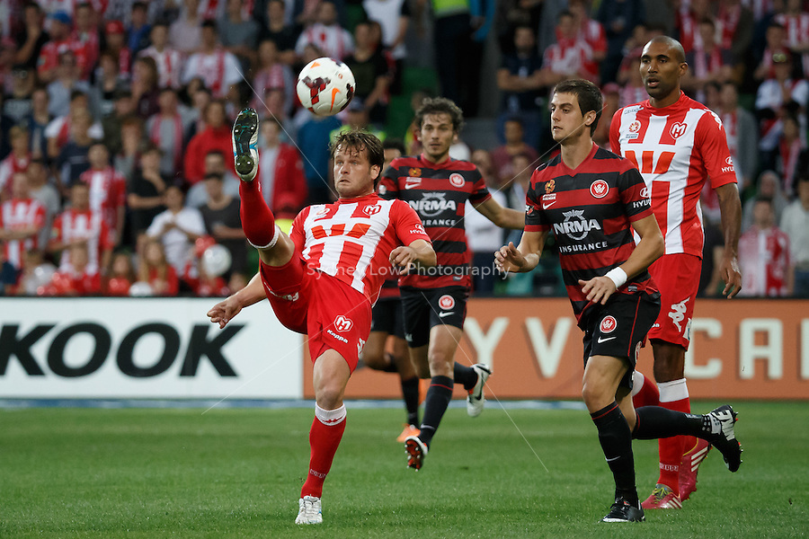Dutch player Robbie WIELAERT of the Heart kicks the ball in the round 27 match between Melbourne Heart and  the Western Sydney Wanderers in the Australian Hyundai A-League 2013-24 season at AAMI Park, Melbourne, Australia. Photo Sydney Low/Zumapress<br /> <br /> This image is not for sale on this web site. Please visit zumapress.com for licensing