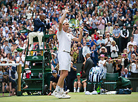 Sam Querrey (24) of United States celebrates his victory against Andy Murray (1) of Great Britain in their Men's Singles Quarter Final Match today - Querrey def Murray 3-6, 6-4, 6-7, 6-1, 6-1<br /> <br /> Photographer Ashley Western/CameraSport<br /> <br /> Wimbledon Lawn Tennis Championships - Day 9 - Wednesday 12th July 2017 -  All England Lawn Tennis and Croquet Club - Wimbledon - London - England<br /> <br /> World Copyright &not;&copy; 2017 CameraSport. All rights reserved. 43 Linden Ave. Countesthorpe. Leicester. England. LE8 5PG - Tel: +44 (0) 116 277 4147 - admin@camerasport.com - www.camerasport.com