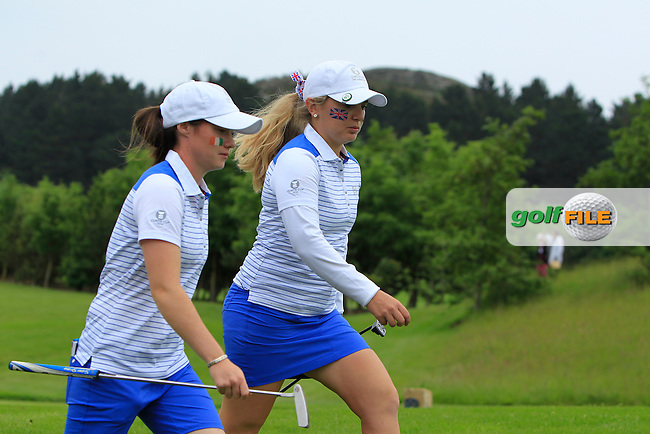 Leona Maguire and Bronte Law on the 5th during the Friday afternoon Fourballs of the 2016 Curtis Cup at Dun Laoghaire Golf Club on Friday 10th June 2016.<br /> Picture:  Golffile | Thos Caffrey