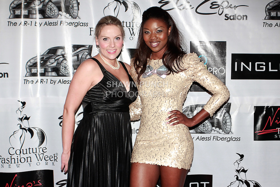 "Soprano singer Christine Reber poses on red carpet with HShakyra ""Vanity"" LaShae of Revenge Fashion Magazine, during Couture Fashion Week Spring 2012, at the Waldorf Astoria-Hotel in New York City."