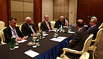 A handout picture released by Prime Minister Office shows Palestinian Prime Minister Rami Hamdallah meets with Indonesian President and Prime Minister of Azerbaijan, in Jakarta on April 21, 2015. Photo by Prime Minister Office. Photo by Prime Minister Office