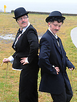 24-8-2014 Brid Moran and her daughter Siofra O'Shea pictured at the Charlie Chaplin Festival in Waterville, County Kerry on Sunday.<br /> Picture by Don MacMonagle
