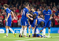 An emotional Charly Musonda of Chelsea celebrates with his team mates after scoring Chelsea's third goal, Carabao Cup, Third Round, Chelsea v Nottingham Forrest, Stamford Bridge, London, United Kingdom, 20th  September 2017