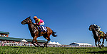 September 7, 2019 : Totally Boss #10, ridden by Florent Geroux, wins the Runhappy Turf Sprint during racing at Kentucky Downs in Franklin, Kentucky. Scott Serio/Eclipse Sportswire/CSM