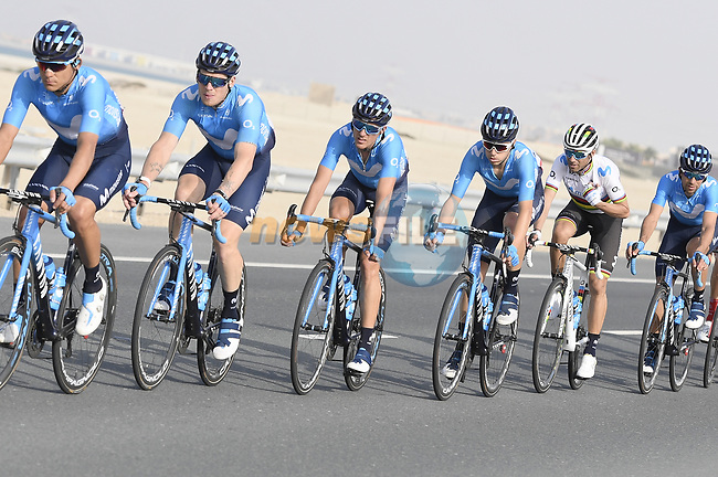 Movistar Team in action during Stage 2 of the 2019 UAE Tour, running 184km form Yas Island Yas Mall to Abu Dhabi Breakwater Big Flag, Abu Dhabi, United Arab Emirates. 25th February 2019.<br /> Picture: LaPresse/Fabio Ferrari | Cyclefile<br /> <br /> <br /> All photos usage must carry mandatory copyright credit (© Cyclefile | LaPresse/Fabio Ferrari)