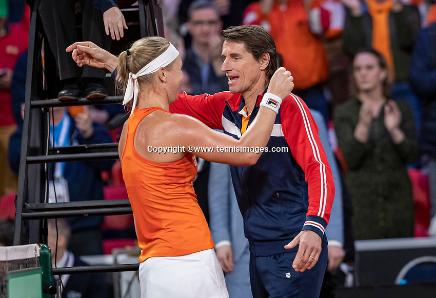 The Hague, The Netherlands, Februari 8, 2020,    Sportcampus, FedCup  Netherlands -  Balarus, First match on Saturday:  Kiki Bertens (NED) jubilates with captain Paul Haarhuis, the Dutch take the lead 2-1<br /> Photo: Tennisimages/Henk Koster
