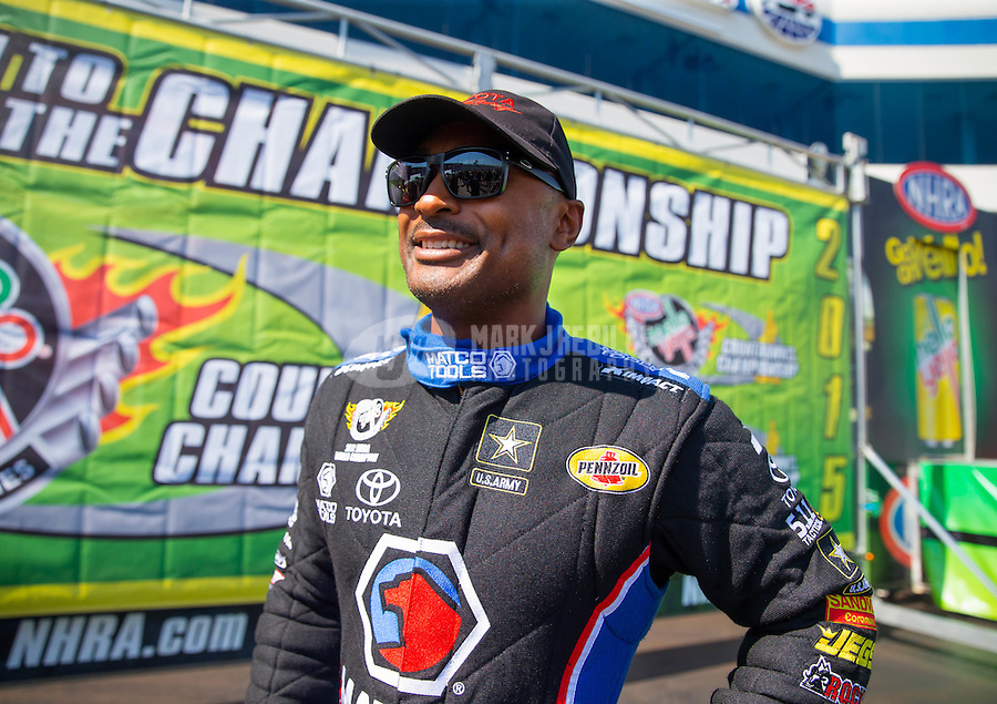 Sep 20, 2015; Concord, NC, USA; NHRA top fuel driver Antron Brown during the Carolina Nationals at zMax Dragway. Mandatory Credit: Mark J. Rebilas-USA TODAY Sports