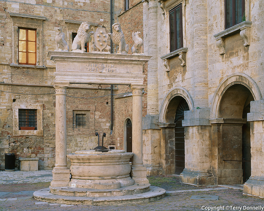 Tuscany, Italy:  Ornate well in front of the Palazzo Nobili-Tarughi on Montepulcianos's Piazza Grande