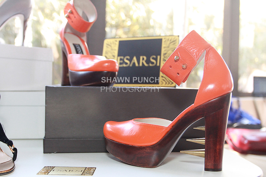 Esarsi shoes by Rosalie and Stacey Cooper displayed at the Nolcha Fashion Lounge + Media Brunch event at the Yotel Hotel, during Nolcha Fashion Week New York Fall 2013, February 14, 2013.
