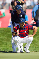 Jordan Spieth and Patrick Reed(Team USA) on the 18th green during the Saturday morning Foursomes at the Ryder Cup, Hazeltine national Golf Club, Chaska, Minnesota, USA.  01/10/2016<br /> Picture: Golffile | Fran Caffrey<br /> <br /> <br /> All photo usage must carry mandatory copyright credit (&copy; Golffile | Fran Caffrey)