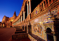 Detail of the elaborate, decorative tiles on the exterior of the Plaza de Espana. Seville, Spain