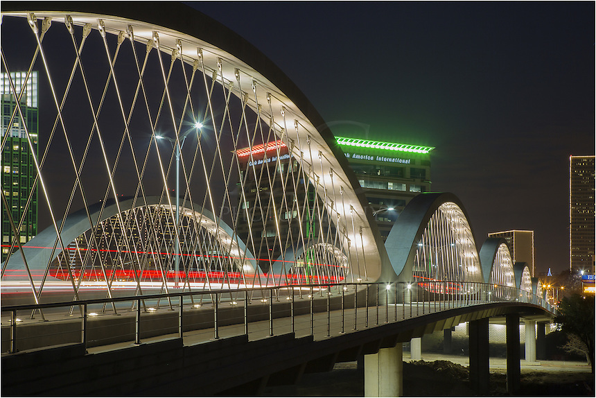 The 7th Street Bridge in downtown Fort Worth connects the business areas with the cultural district for both automobile traffic and pedestrians. The Seventh Street Bridge officially opened in November, 2013, but was actually open to traffic a month before the opening ceremony.