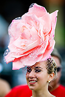 BALTIMORE, MD - MAY 19: A beautiful flowered hat is displayed on Black-Eyed Susan Day at Pimlico Race Course on May 19, 2017 in Baltimore, Maryland.(Photo by Douglas DeFelice/Eclipse Sportswire/Getty Images)