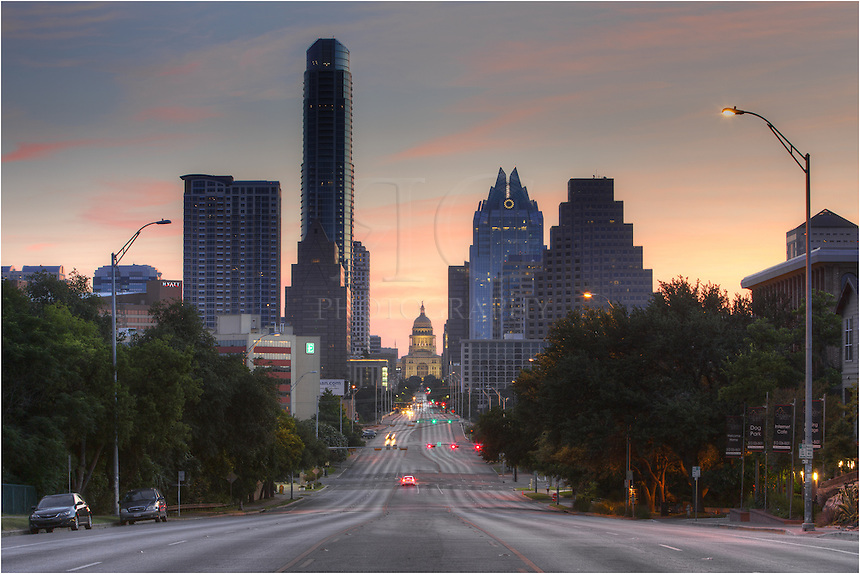 Seemingly sitting in the shadow of the Austonian, the State Capitol of Texas rests at the end of South Congress. This picture of the building looks north and captures the downtown Austin, Texas, capitol in the minutes before sunrise.