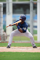 GCL Rays first baseman Gilbert Marrero (24) squares to bunt during the second game of a doubleheader against the GCL Red Sox on August 9, 2016 at JetBlue Park in Fort Myers, Florida.  GCL Rays defeated GCL Red Sox 9-1.  (Mike Janes/Four Seam Images)