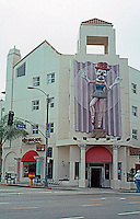 Santa Monica CA: Renaissance Building, an entire block of Main St., 1989. (Dumb Emmet Kelly as Balarina by J. Barofsky.)