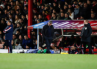 4th January 2020; Griffin Park, London, England; English FA Cup Football, Brentford FC versus Stoke City; A disappointed Stoke City Manager Michael O'Neill looking down onto the touchline during the 2nd half - Strictly Editorial Use Only. No use with unauthorized audio, video, data, fixture lists, club/league logos or 'live' services. Online in-match use limited to 120 images, no video emulation. No use in betting, games or single club/league/player publications