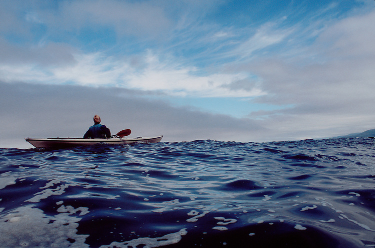Sea kayaker, Pacific Ocean off Cape Meares, Oregon coast. Mariner II, Will Cooper, open ocean paddling,.