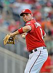 19 May 2012: Washington Nationals third baseman Ryan Zimmerman warms up prior to a game against the Baltimore Orioles at Nationals Park in Washington, DC. The Orioles defeated the Nationals 6-5 in the second game of their 3-game series. Mandatory Credit: Ed Wolfstein Photo