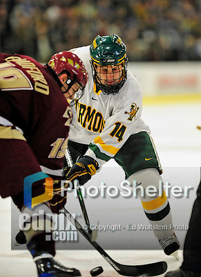 9 January 2009: University of Vermont Catamounts' forward Brian Roloff, a Junior from West Seneca, NY, takes a faceoff during the first game of a weekend series against the Boston College Eagles at Gutterson Fieldhouse in Burlington, Vermont. The Catamounts scored with one second remaining in regulation time to earn a 3-3 tie with the visiting Eagles. Mandatory Photo Credit: Ed Wolfstein Photo