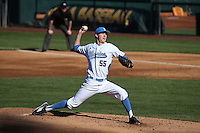 Griffin Canning (55) of the UCLA Bruins pitches against the North Carolina Tar Heels at Jackie Robinson Stadium on February 20, 2016 in Los Angeles, California. UCLA defeated North Carolina, 6-5. (Larry Goren/Four Seam Images)