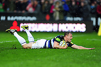 Chris Cook of Bath Rugby scores a try in the first half. Aviva Premiership match, between Gloucester Rugby and Bath Rugby on March 26, 2016 at Kingsholm Stadium in Gloucester, England. Photo by: Patrick Khachfe / Onside Images