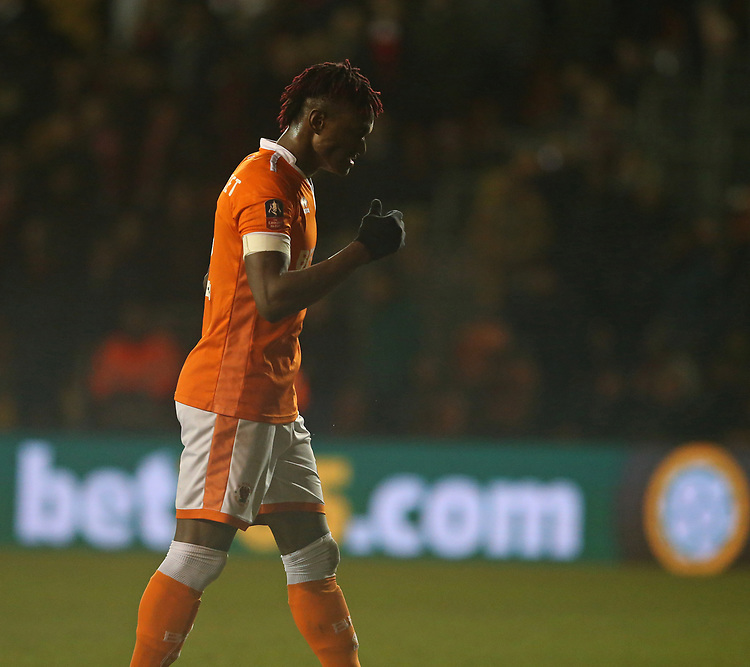 Blackpool's Armand Gnanduillet<br /> <br /> Photographer Stephen White/CameraSport<br /> <br /> Emirates FA Cup Third Round - Blackpool v Arsenal - Saturday 5th January 2019 - Bloomfield Road - Blackpool<br />  <br /> World Copyright © 2019 CameraSport. All rights reserved. 43 Linden Ave. Countesthorpe. Leicester. England. LE8 5PG - Tel: +44 (0) 116 277 4147 - admin@camerasport.com - www.camerasport.com