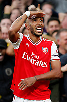 GOAL - Pierre-Emerick Aubameyang of Arsenal celebrating his goal during the Premier League match between Arsenal and Aston Villa at the Emirates Stadium, London, England on 22 September 2019. Photo by Carlton Myrie / PRiME Media Images.