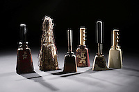 Cowbells studio -black background (photo by Megan Bean  / © Mississippi State University)