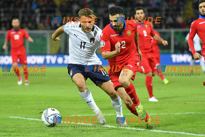 Italy's Ciro Immobile vies for the ball with Armenia's Andre' Calisir <br /> Palermo 18-11-2019 Stadio Renzo Barbera <br /> UEFA European Championship 2020 qualifier group J <br /> Italy - Armenia <br /> Photo Carmelo Imbesi / Insidefoto
