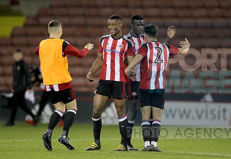Sheffield United's players celebrate the win during the FA Youth Cup First Round match at Bramall Lane Stadium, Sheffield. Picture date: November 1st 2016. Pic Richard Sellers/Sportimage