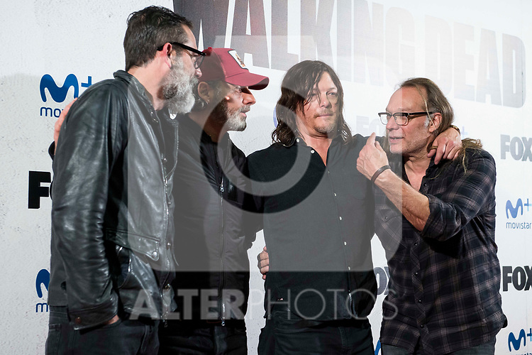 "Jeffrey Dean Morgan, Andrew Lincoln, Norman Reedus and director of the series, Greg Nicotero attends to an event with fans of ""The Walking Dead"" at Cines Capitol in Madrid. March 09, 2017. (ALTERPHOTOS/Borja B.Hojas)"