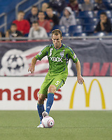 Seattle Sounders defender Tyson Wahl (5). In a Major League Soccer (MLS) match, the Seattle Sounders FC defeated the New England Revolution, 2-1, at Gillette Stadium on October 1, 2011.