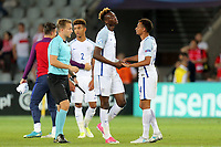 Tammy Abraham of England is relieved at the final whistle after England Under-21 vs Poland Under-21, UEFA European Under-21 Championship Football at The Kolporter Arena on 22nd June 2017