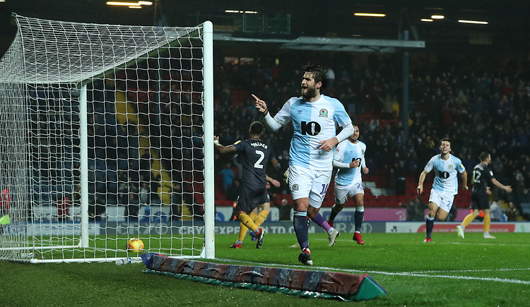 Blackburn Rovers' Danny Graham celebrates scoring his sides forth goal with his fellow team mates <br /> <br /> Photographer Rachel Holborn/CameraSport<br /> <br /> The EFL Sky Bet Championship - Blackburn Rovers v Sheffield Wednesday - Saturday 1st December 2018 - Ewood Park - Blackburn<br /> <br /> World Copyright &copy; 2018 CameraSport. All rights reserved. 43 Linden Ave. Countesthorpe. Leicester. England. LE8 5PG - Tel: +44 (0) 116 277 4147 - admin@camerasport.com - www.camerasport.com