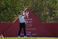 Tom Lewis (ENG) on the 8th tee during Round 1 of the Abu Dhabi HSBC Championship 2020 at the Abu Dhabi Golf Club, Abu Dhabi, United Arab Emirates. 16/01/2020<br /> Picture: Golffile | Thos Caffrey<br /> <br /> <br /> All photo usage must carry mandatory copyright credit (© Golffile | Thos Caffrey)