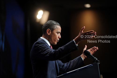 United States President Barack Obama addresses the National Council of La Raza at their annual conference luncheon at the Marriot Wardman Park Hotel in Washington, DC, Monday, July 25, 2011. NCLR's Annual Conference is the largest gathering in the Hispanic community..Credit: Olivier Douliery / Pool via CNP