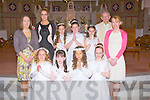 Holy Communion day Saturday for the pupils of Muire Gan Smal, Castleisland, Lauren O'Sulllivan, Laura Walsh, Samanta Siwak, Abigail Martin, Ola Zebrowska, Jessica Herbert,Daria Oliwniak with their teachers Claire Smith, maura Browne (acting Principal and Leona Twiss (Principal) and Fr Dan Riordan PP. after their Holy Communion in St Stephen /John's Church Castleisland.